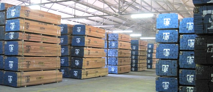 sawn timber in warehouse